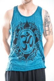 Mens Infinitee Om Tank Top in Denim Blue