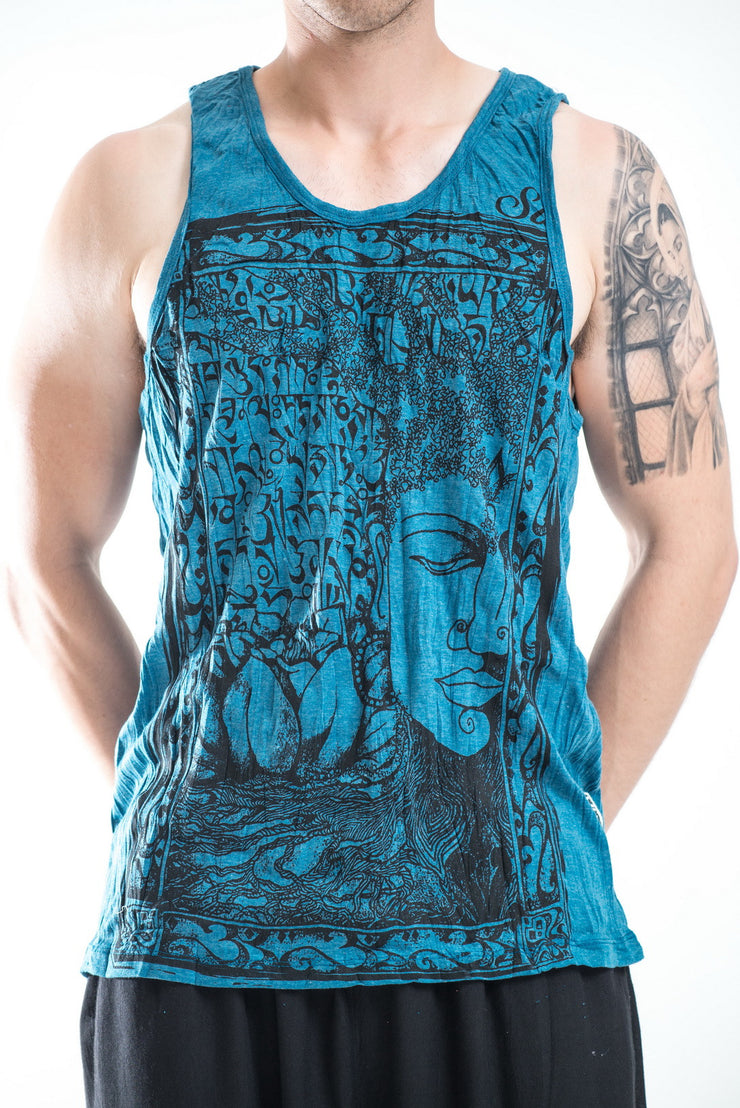 Mens Buddha Sanskrit Tank Top in Denim Blue