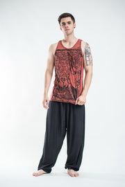 Mens Buddha Sanskrit Tank Top in Brick
