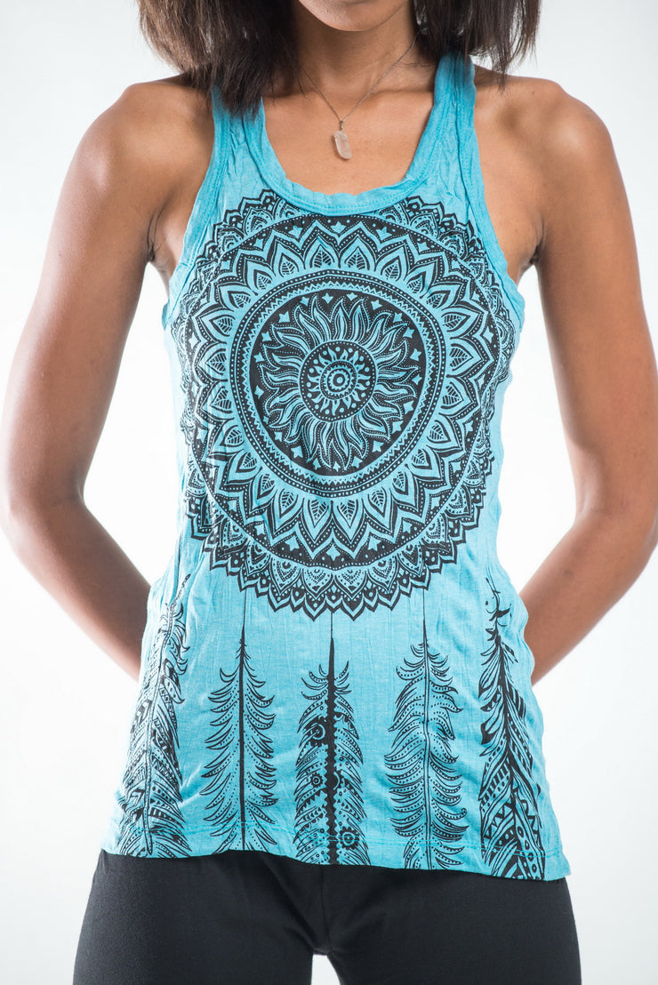 Womens Dreamcatcher Tank Top in Turquoise