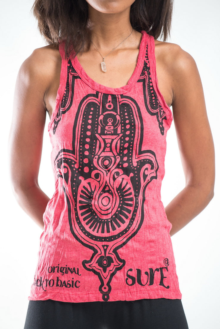 Womens Three Hands Tank Top in Red