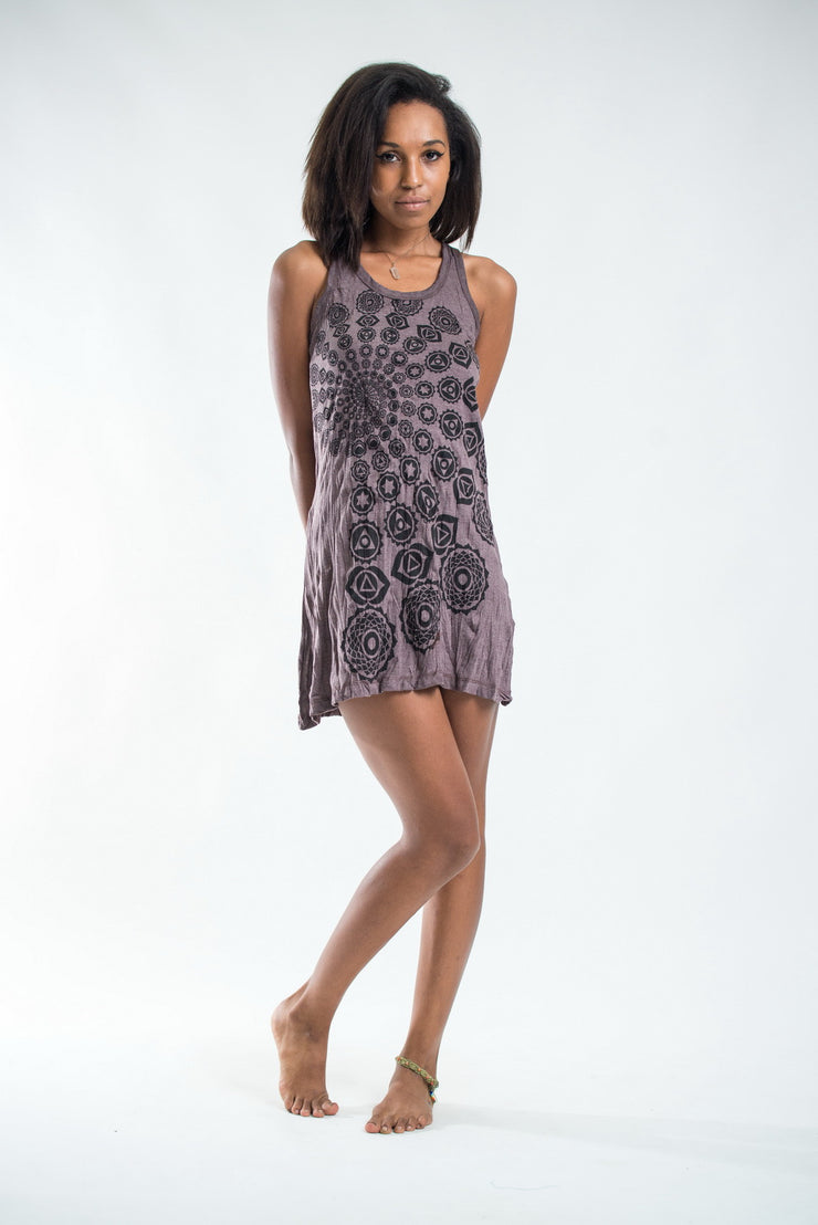 Womens Chakra Fractal Tank Dress in Brown