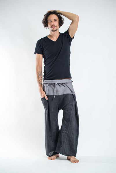Unisex Two Tone Pinstripe Thai Fisherman Pants in Black