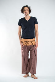 Unisex Two Tone Pinstripe Thai Fisherman Pants in Brown