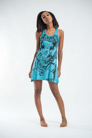 Womens Big Face Ganesh Tank Dress in Turquoise