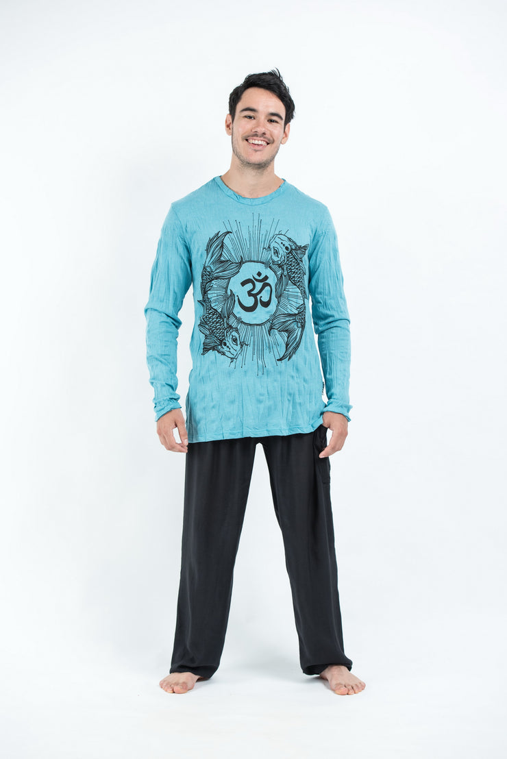 Unisex Om and Koi Fish Long Sleeve T-Shirt in Turquoise