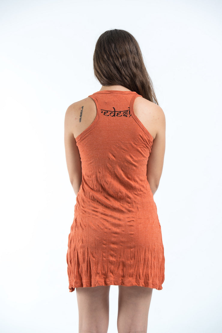 Womens Om and Koi Fish Tank Dress in Orange