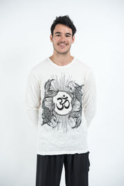 Unisex Om and Koi Fish Long Sleeve T-Shirt in White