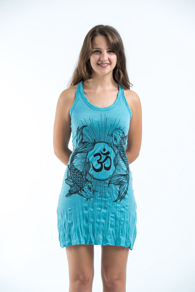 Womens Om and Koi fish Tank Dress in Turquoise