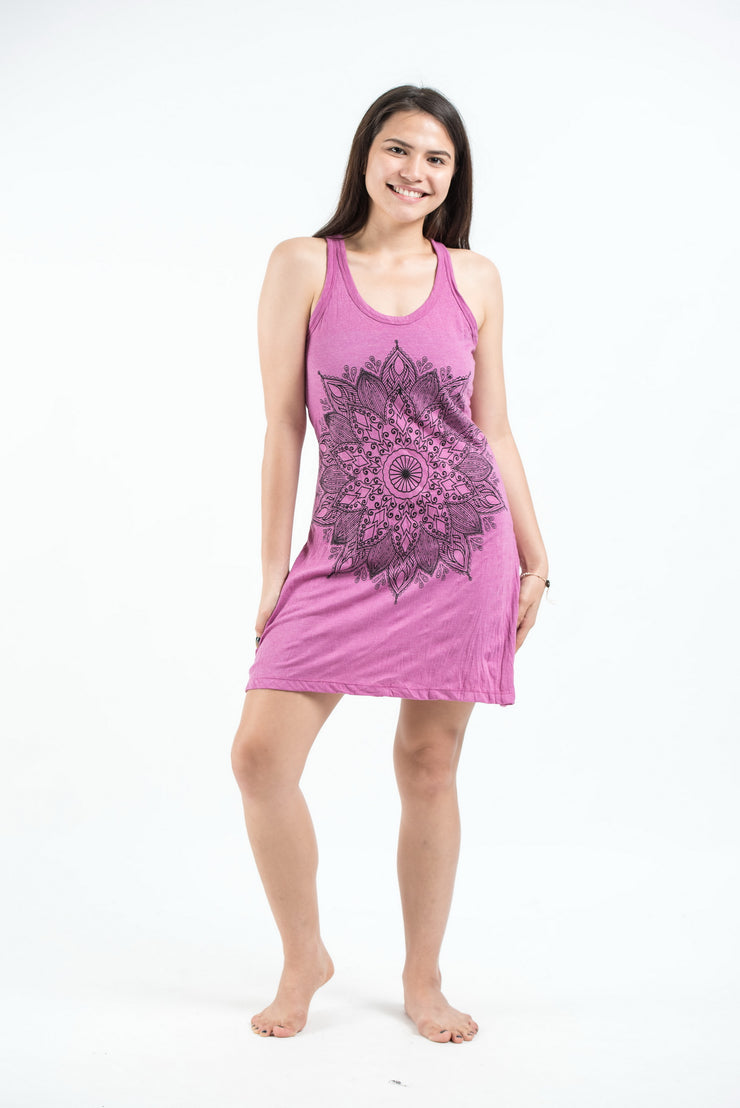 Womens Lotus Mandala Tank Dress in Pink