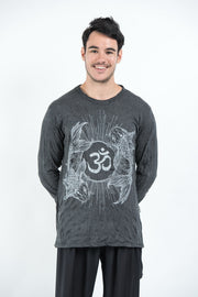 Unisex Om and Koi Fish Long Sleeve T-Shirt in Silver on Black