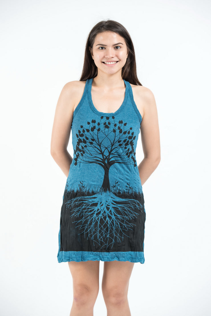 Womens Tree of Life Tank Dress in Denim Blue