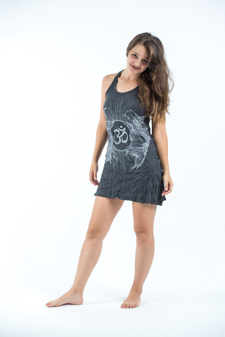 Womens Om and Koi fish Tank Dress in Silver on Black