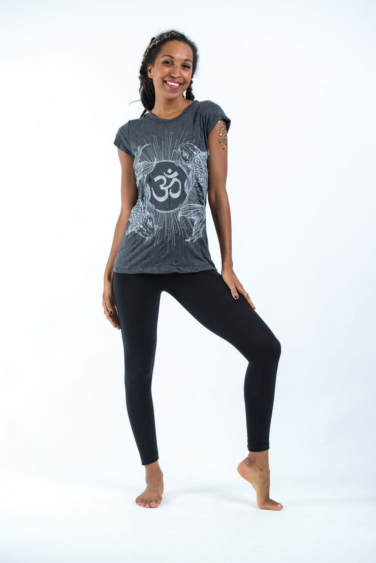Womens Om and Koi Fish T-Shirt in Silver on Black