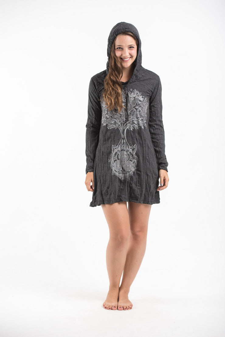 Womens Celtic Tree Hoodie Dress in Silver on Black