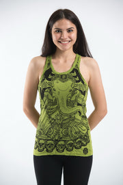 Womens Batman Ganesh Tank Top in Lime