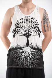 Mens Tree of Life Tank Top in White