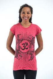 Womens Om and Koi Fish T-Shirt in Red