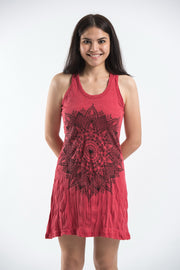 Womens Lotus Mandala Tank Dress in Red