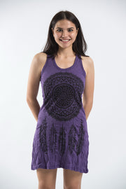 Womens Dreamcatcher Tank Dress in Purple