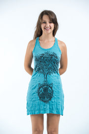 Womens Celtic Tree Tank Dress in Turquoise