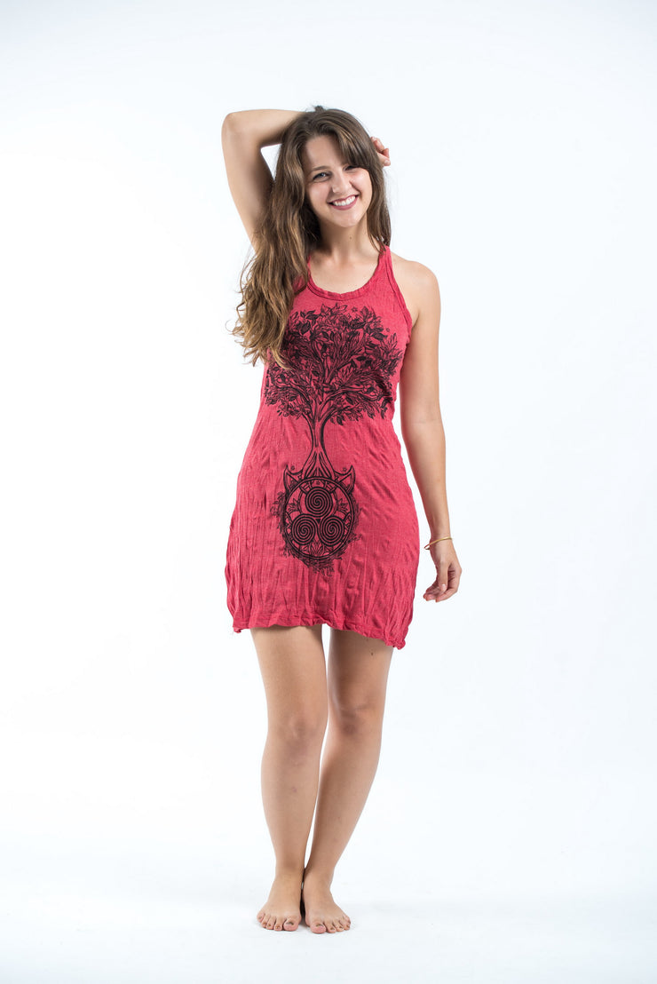 Womens Celtic Tree Tank Dress in Red