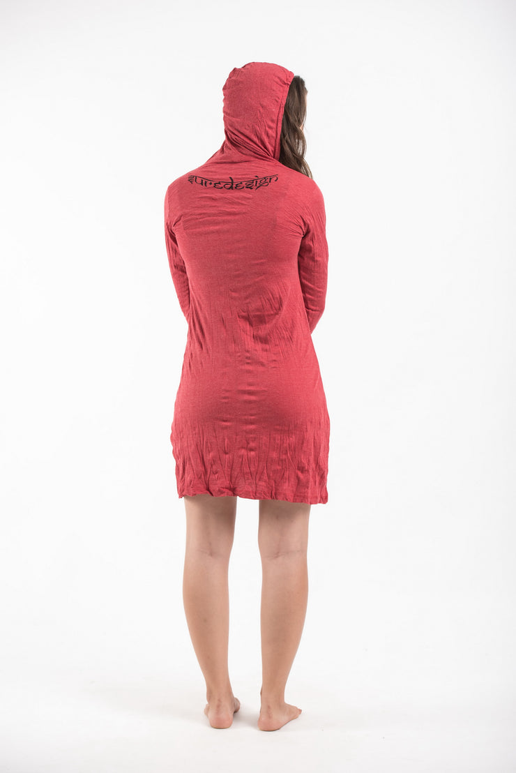 Womens Celtic Tree Hoodie Dress in Red