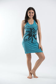 Womens Octopus Tank Dress in Turquoise