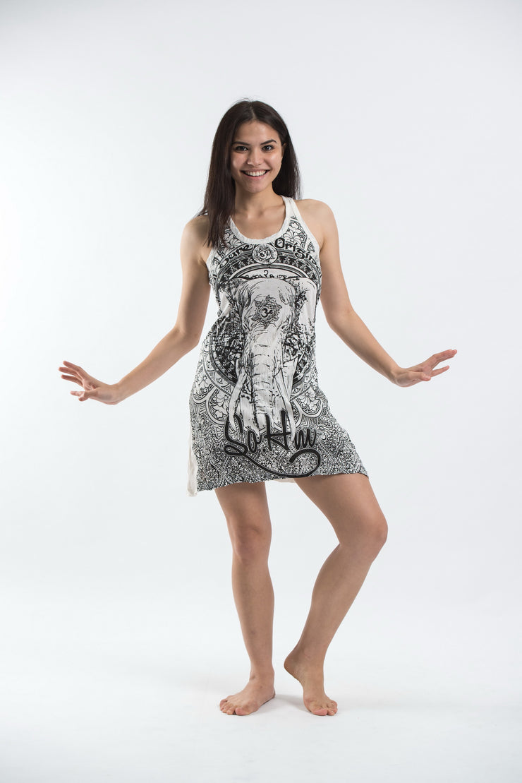 Womens Wild Elephant Tank Dress in White