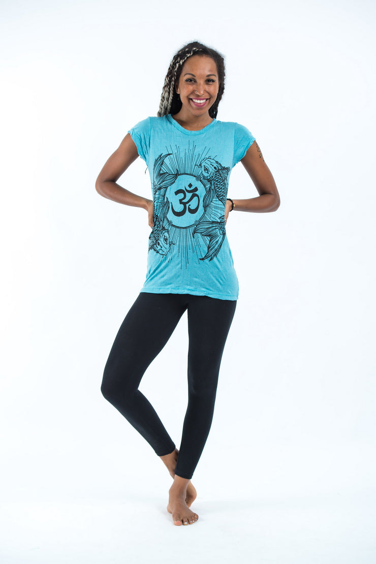 Womens Om and Koi Fish T-Shirt in Turquoise