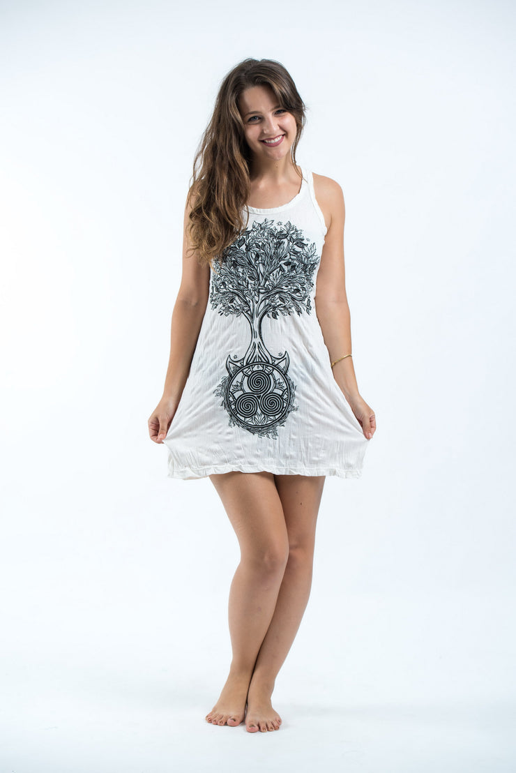Womens Celtic Tree Tank Dress in White