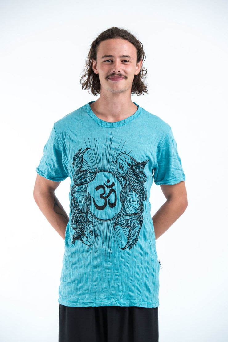 Mens Om and Koi Fish T-Shirt in Turquoise