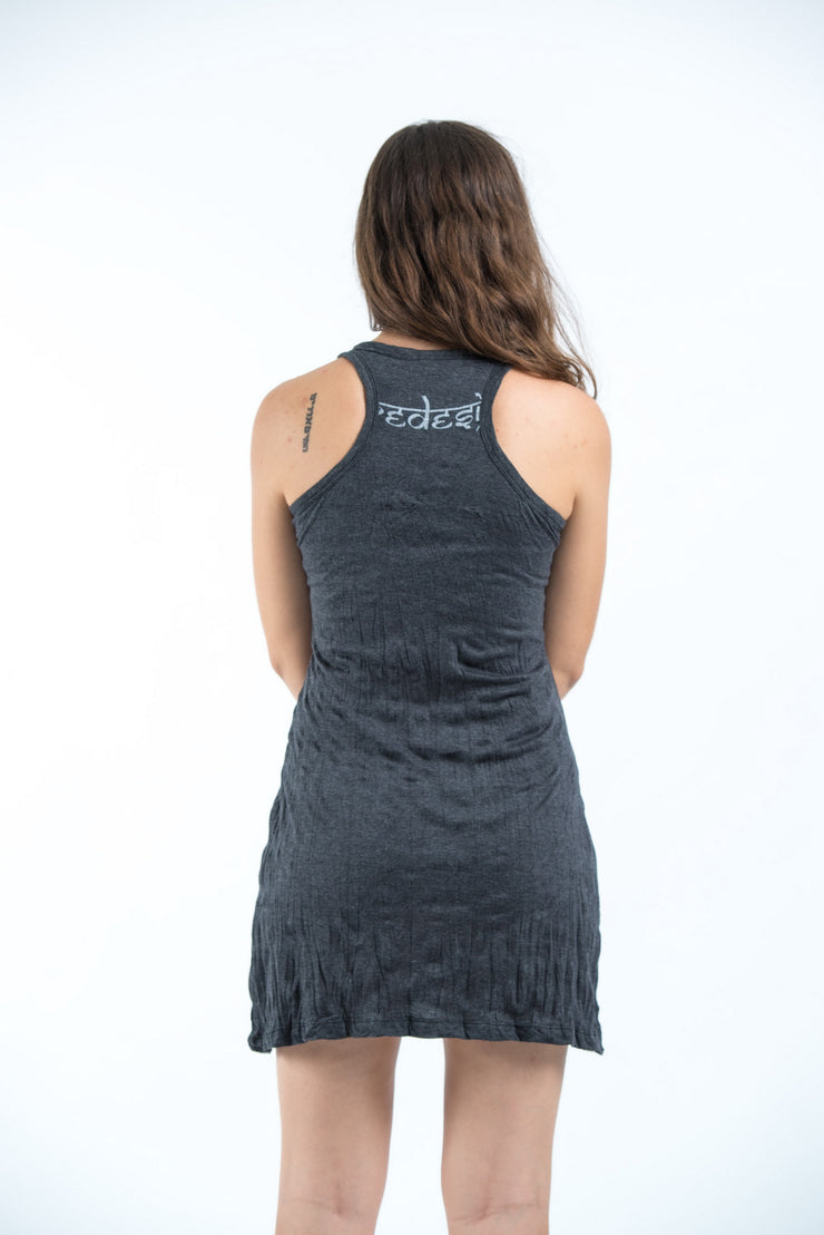 Womens Celtic Tree Tank Dress in Silver on Black