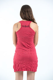 Womens Ganesh Mantra Tank Dress in Red