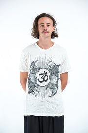 Mens Om and Koi Fish T-Shirt in White