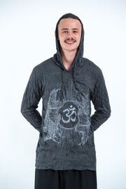 Unisex Om and Koi Fish Hoodie in Silver on Black