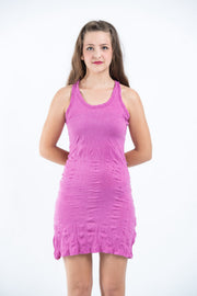 Womens Solid Color Tank Dress in Pink