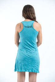 Womens Ganesh Mantra Tank Dress in Turquoise