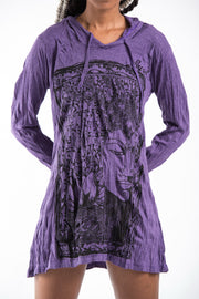 Womens Sanskrit Buddha Hoodie Dress in Purple