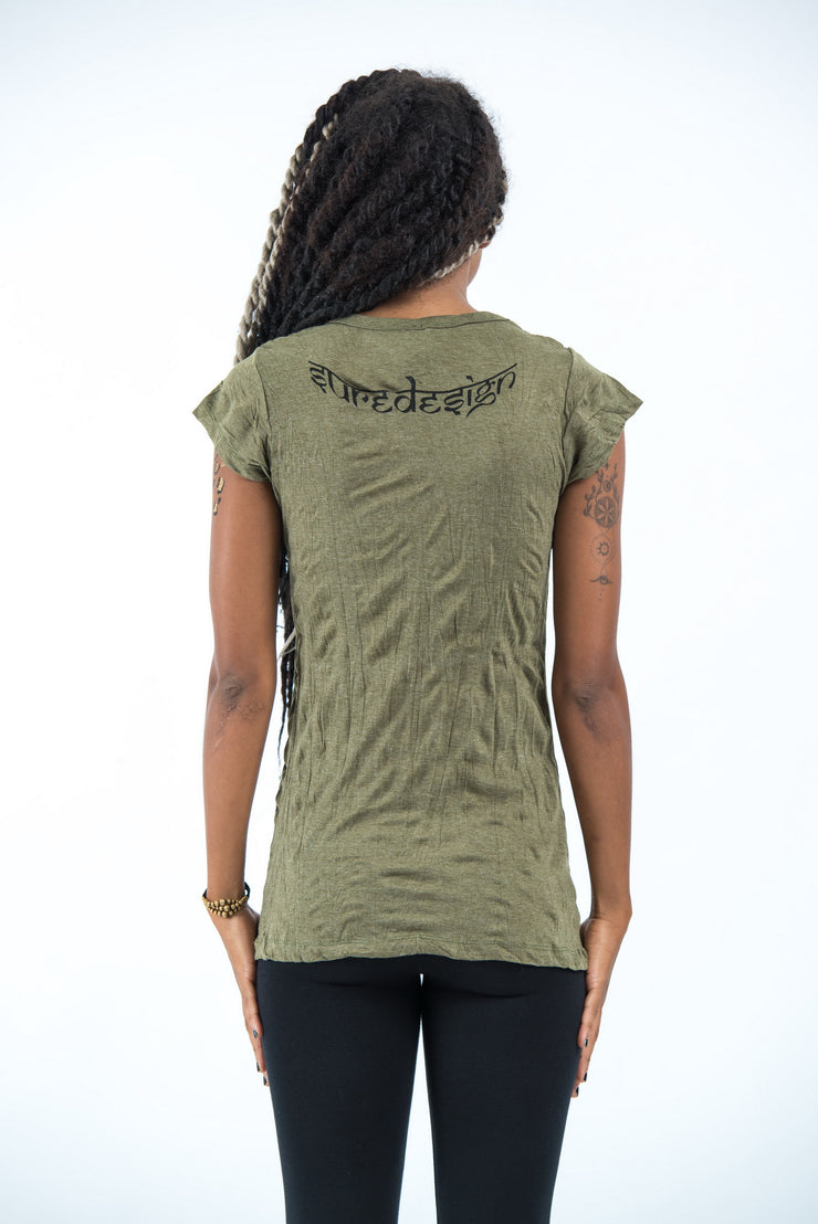 Womens Ganesh Mantra T-Shirt in Green