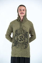 Unisex Om and Koi Fish Hoodie in Green