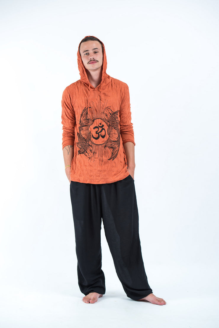 Unisex Om and Koi Fish Hoodie in Orange