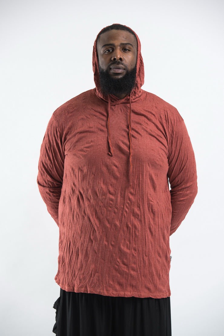 Plus Size Unisex Solid Color Hoodie in Brick