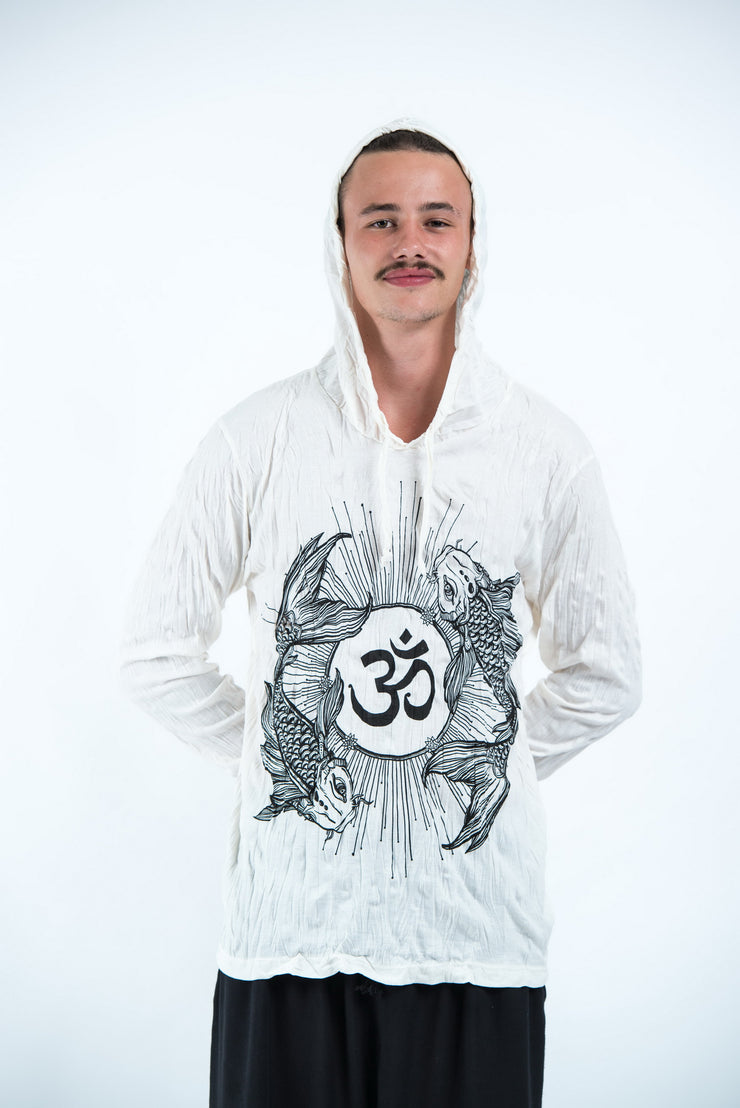 Unisex Om and Koi Fish Hoodie in White