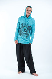 Unisex Om and Koi Fish Hoodie in Turquoise