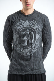 Unisex Infinitee Om Long Sleeve T-Shirt in Silver on Black