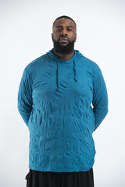 Plus Size Unisex Solid Color Hoodie in Denim Blue