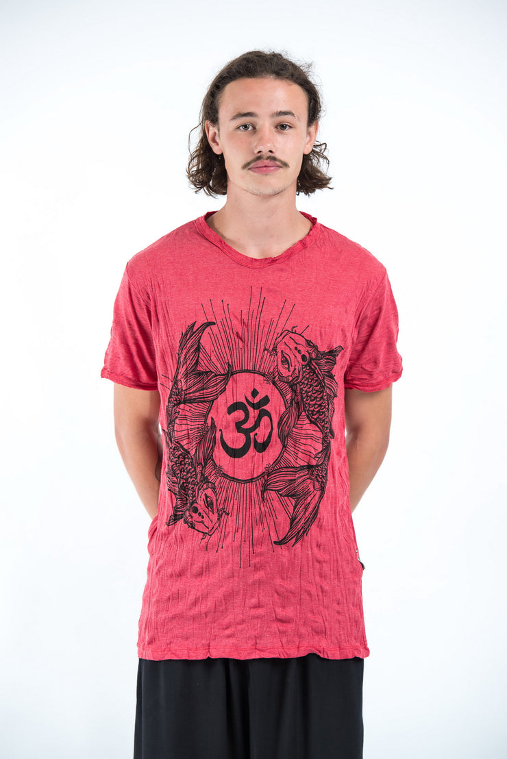 Mens Om and Koi Fish T-Shirt in Red