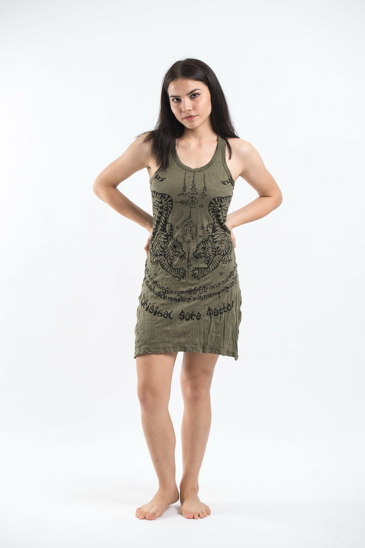 Womens Thai Tattoo Tank Dress in Green