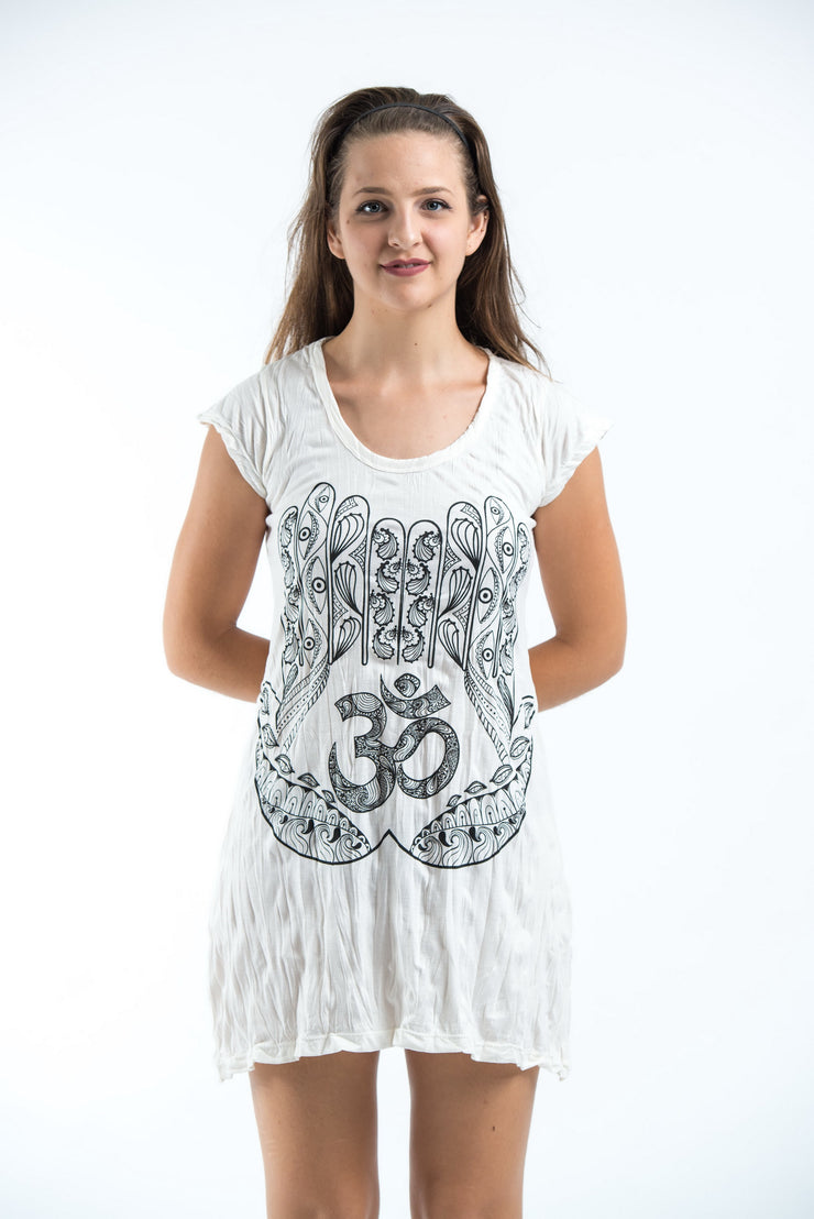 Womens Om hands Dress in White